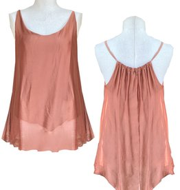 M Made in Italy Chiffon Shirred Neckline Lined Tank