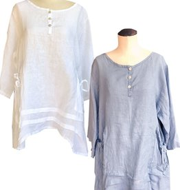 M Made in Italy Shirred Pockets Linen Tunic