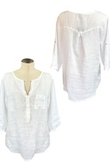 M Made in Italy Woven Long Sleeve Top