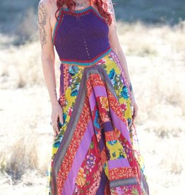 Zig Zag Crochet Halter Maxi Dress w/Patchwork Skirt