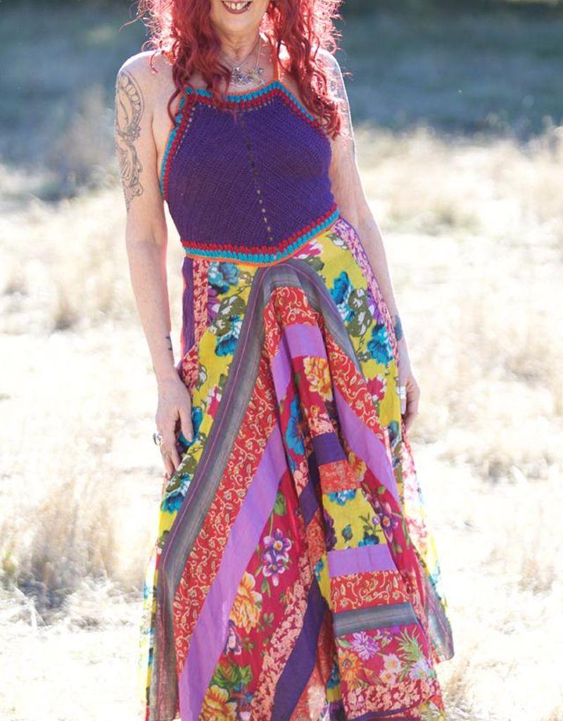 Zig Zag Crochet Halter Maxi Dress w/Patchwork Skirt