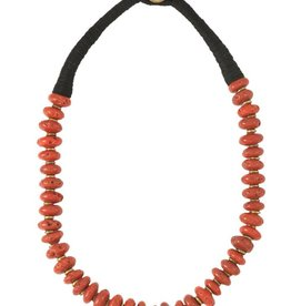 Zig Zag Medium Red & Brass Bead Necklace