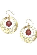 Matr Boomie Tara Stone Medallion Earring-Red
