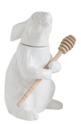 Creative Co-op Ceramic Rabbit Honey Jar