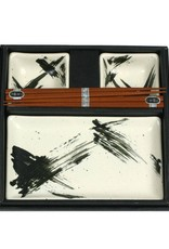 Miya Company Ceramic Sushi Set for Two, Black/White Brush Stroke