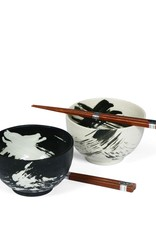 "Miya Company Black & White 5"" Brush Stroke Bowl Set"