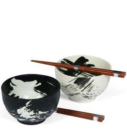 """Miya Company Black & White 5"""" Brush Stroke Bowl Set"""