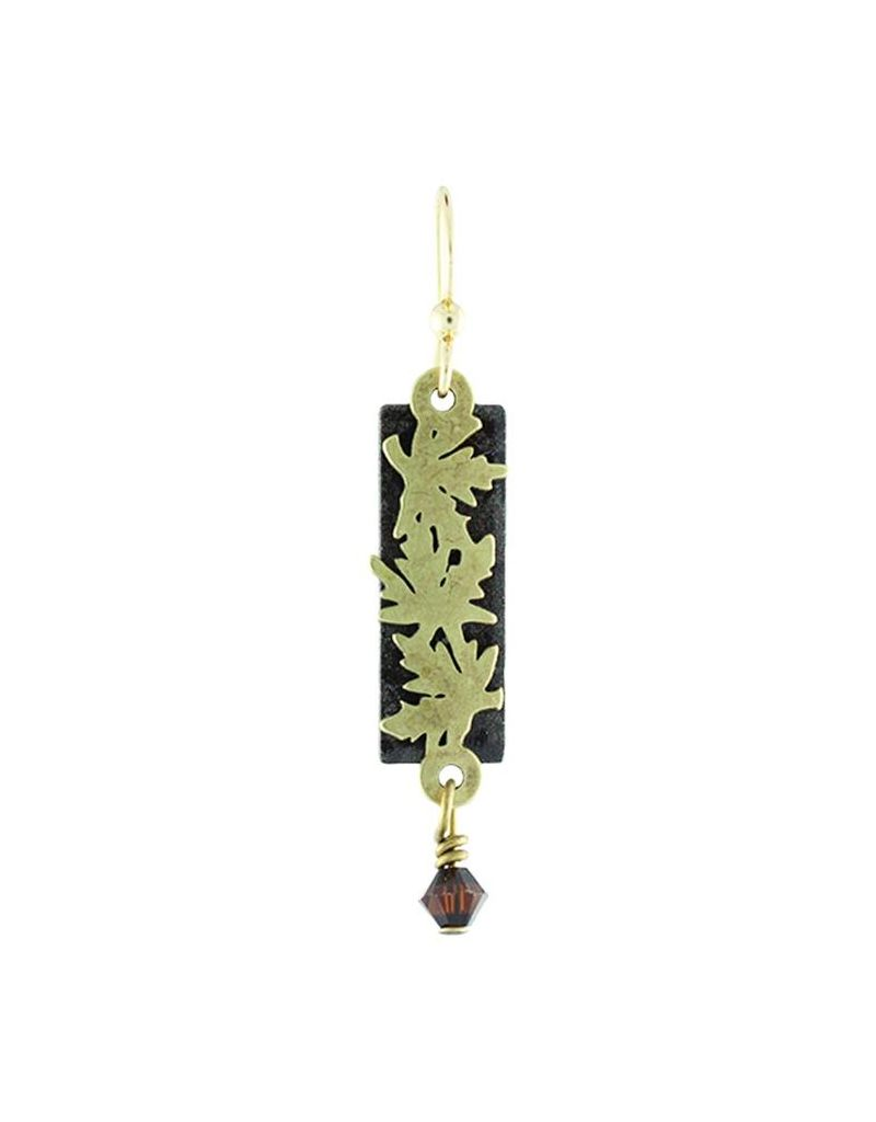 Earth Dreams Bronze Falling Leaves Earrings, Black