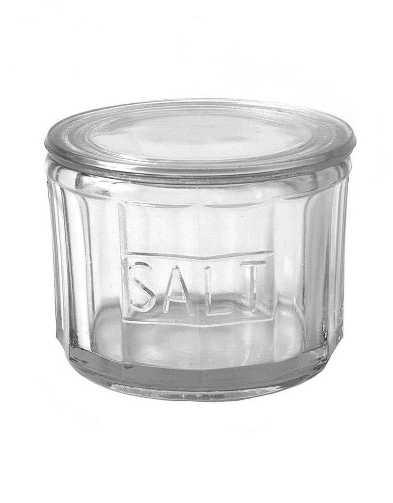 "Creative Co-op 4-1/2"" Round Pressed Glass Salt Cellar"