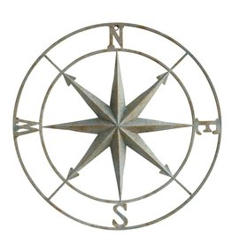 "Creative Co-op 41"" Rnd Metal Compass Wall Decor, Distressed Aqua"