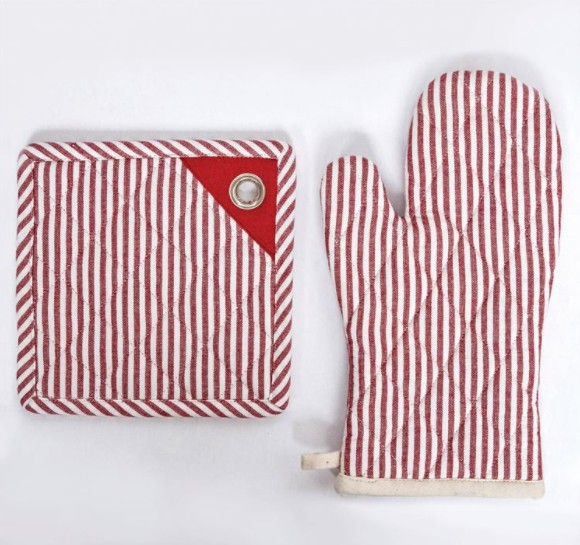 "Creative Co-op 8"" Square Red Striped Cotton Pot Holder"