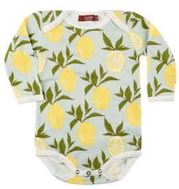 Milkbarn Organic Long-Sleeve One Piece - Lemon