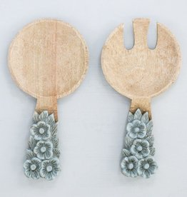 Creative Co-op Salad Servers Set/2 Hand Carved Mango