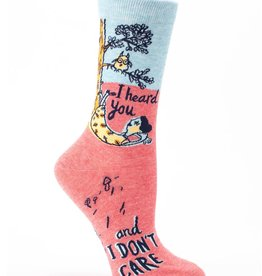 Blue Q I Heard You Don't Care Crew Socks