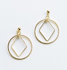 Mata Traders Gold Diamond Hoop Studs