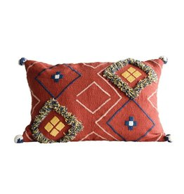 Creative Co-op Cotton Embroidered Pillow w/ Fringe & Pom Poms, Rust Color