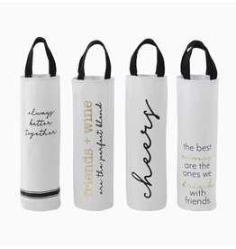 Creative Co-op Natural Cloth Wine Bag with Saying