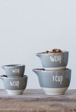 Creative Co-op 1, 3/4, 1/2 & 1/4 Cup Stoneware Measuring Cups, Grey - Set of 4
