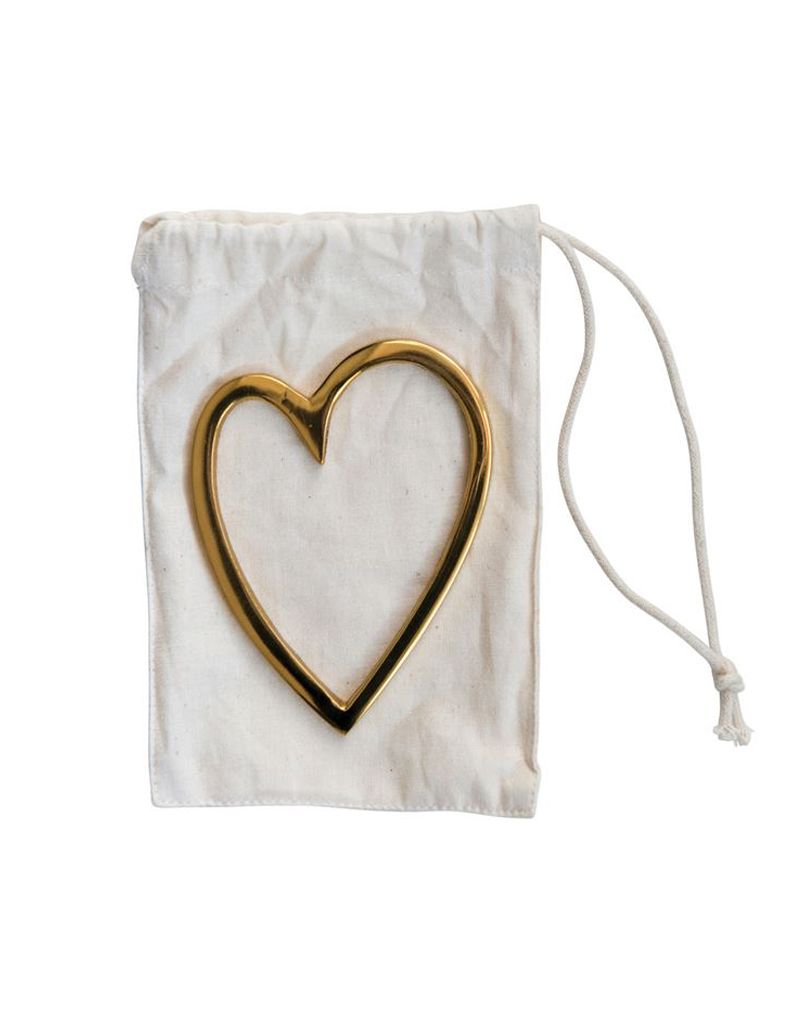 "Creative Co-op 3""L x 4""H Brass Heart in Drawstring Bag"