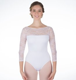 W/S Adult Apparel Grace Kelly Lace Back- V 3/4 Sleeve Leotard