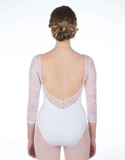 W/S Adult Apparel Grace Kelly Lace Back- V 3/4 Sleeve Leotard
