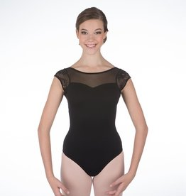 W/S Adult Apparel Audrey Cap Sleeve Leotard with Lace and Mesh