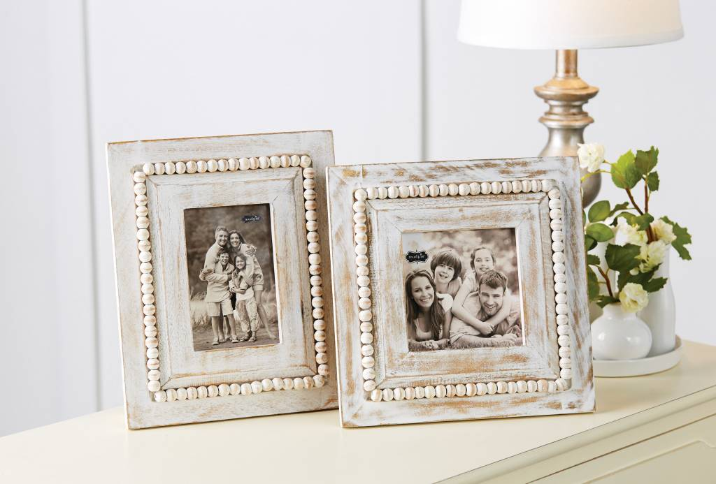 MUD PIE WHITE-WASHED BEADED FRAME - Urbane South