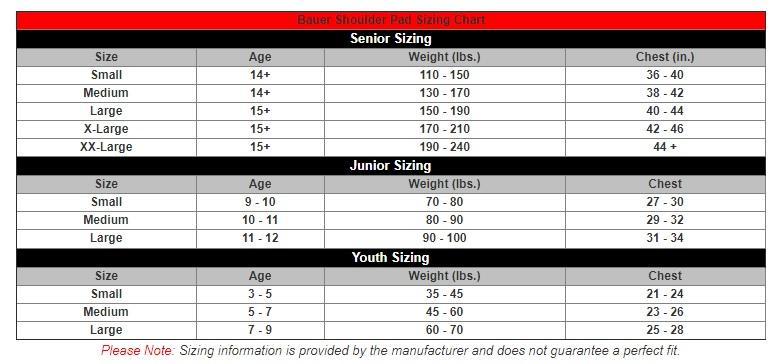 bauer shoulder pad size chart