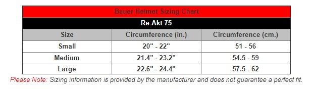 bauer helmet size chart