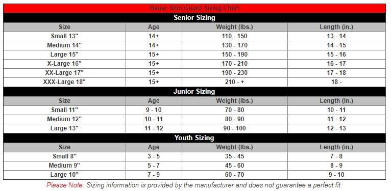 bauer shin pad size chart