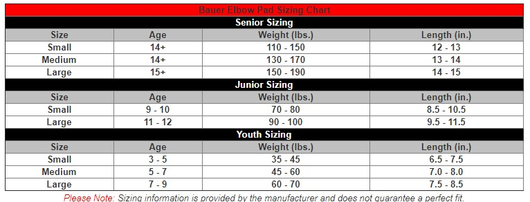 bauer elbow size chart