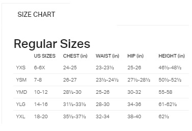 Under Armour girls bottoms sizing
