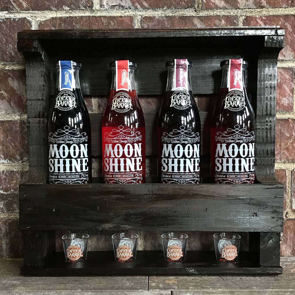Copper Barrel Distillery Pallet Wood Shine Racks