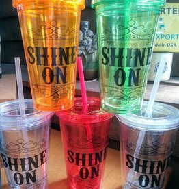 """Copper Barrel Provisions """"Shine On""""  16 oz. Double walled tumbler w/ straw"""