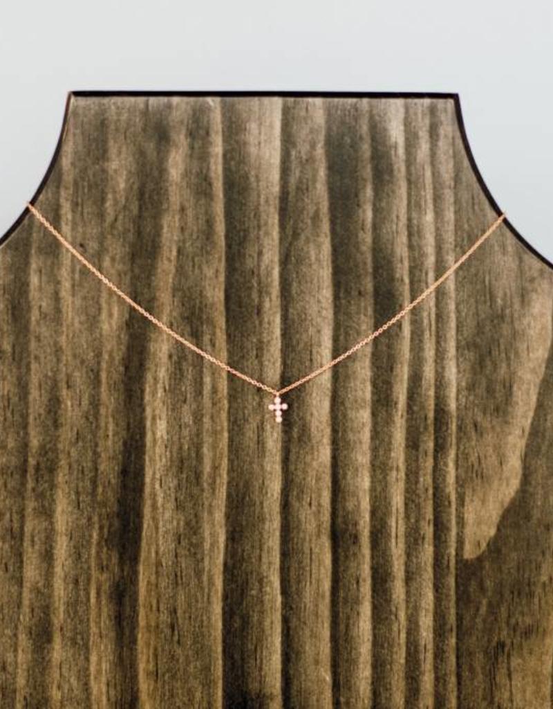 Joy Dravecky CZ Cross Charm Necklace
