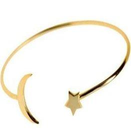 Betsy Pittard Gold Star and Moon Bangle