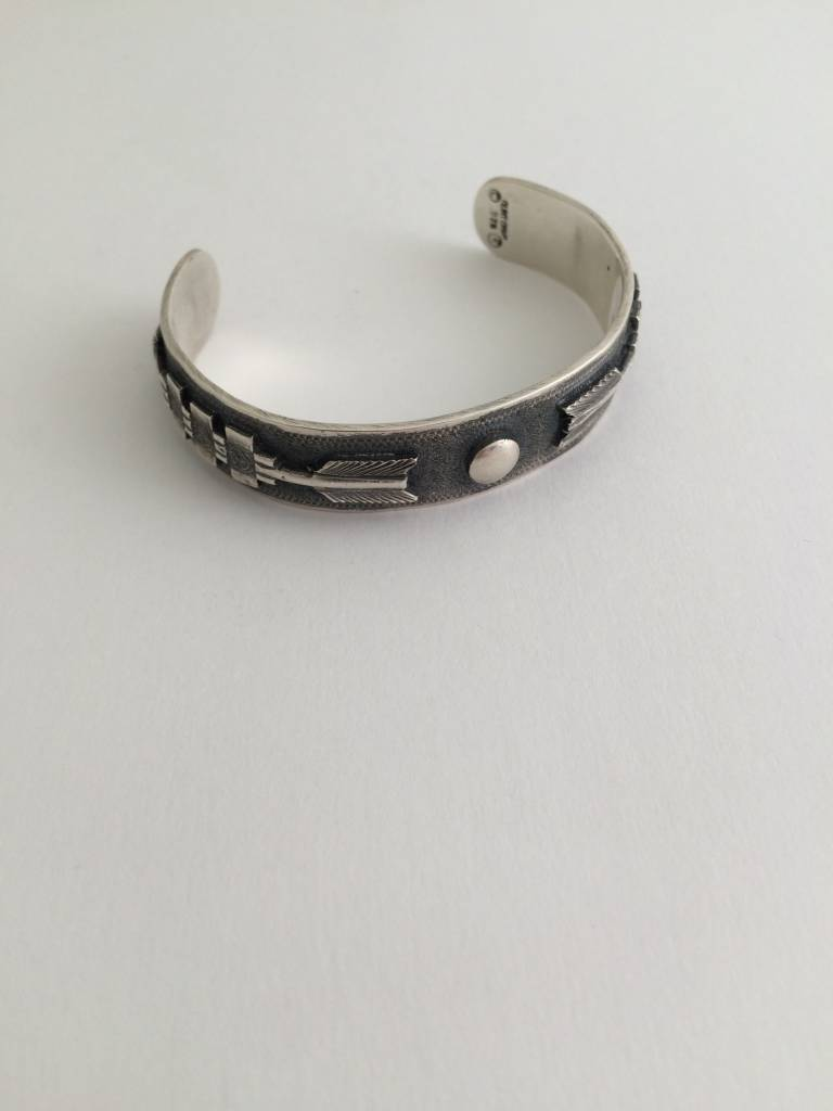 Clint Orms Silver Cuff Bracelet with Engraved Circle and Arrows