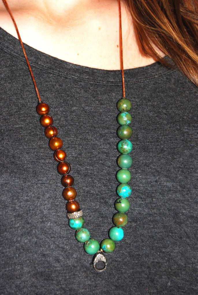 Carol Penn GREEN TURQUOISE ROUND + BRONZE PEARL NECKLACE