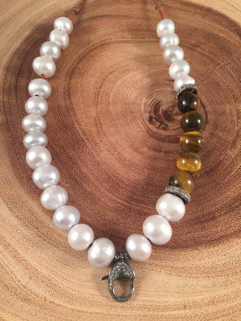 SILVER PEARL + TIGER EYE ROUNDS NECKLACE