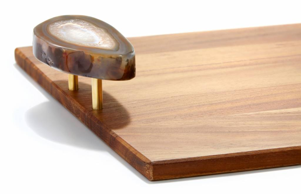 ANNA new york by RABLABS BOSQUE TRAY - SMALL - ACACIA + POLISHED AGATE