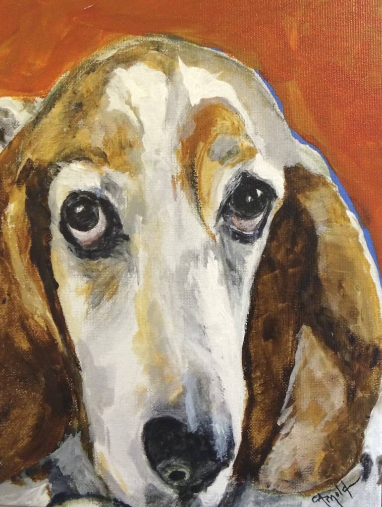 """Carol Arnold Basset Hound - giclee on canvas - 12"""" x 9"""""""