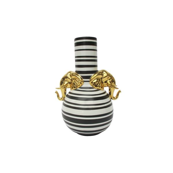 BLACK + IVORY STRIPE TWO ELEPHANT HEAD VASE