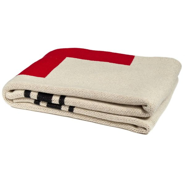 SWISS CROSS + STRIPES ECO THROW - FLAX