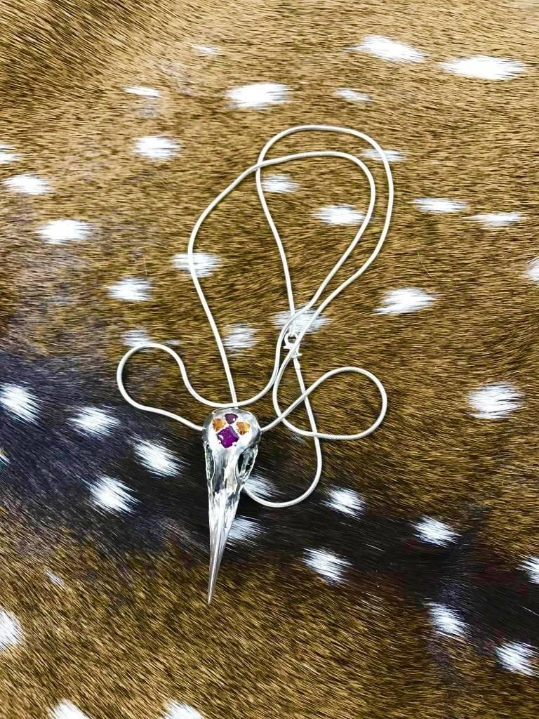 Garnet Crane Skull Necklace