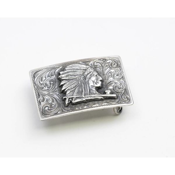 Sterling Silver Trophy Buckle With Engraved Indian Head