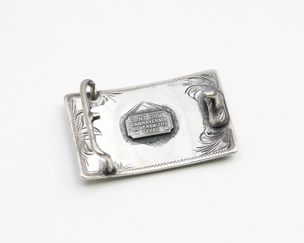 Clint Orms Sterling Silver Trophy Buckle with Engraved Indian Head