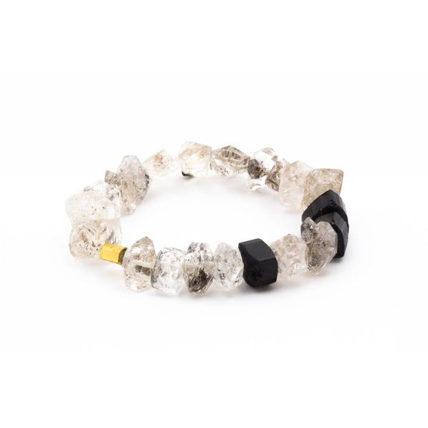 22K GOLD BRACELET WITH ONYX + QUARTZ
