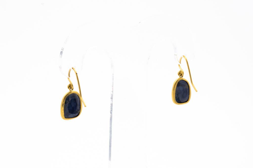 Eli Halili STAR SAPPHIRE + 24K GOLD EARRINGS