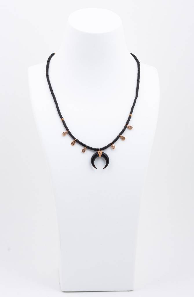 Pave + Black Bead + Double Bone Horn Necklace