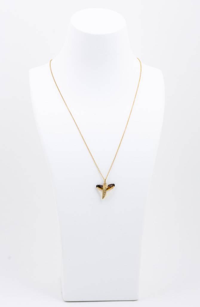 Shark Tooth + Pave Diamond Necklace
